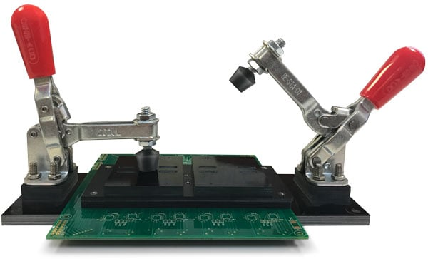 ISI 5100 series toggle clamp test fixtures provide a fully customizable solution to high volume testing. These fixtures allow you to test multiple devices at once saving you time and money.